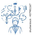 happy business man  with arrows ... | Shutterstock .eps vector #437981167