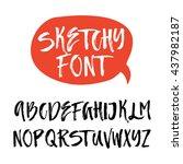 handdrawn latin alphabet.... | Shutterstock .eps vector #437982187
