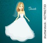 beautiful girl in a wedding... | Shutterstock .eps vector #437982733