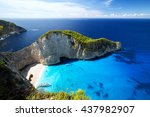 most incredible navagio beach... | Shutterstock . vector #437982907