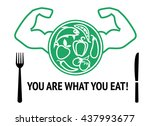 bodybuilder and sports... | Shutterstock .eps vector #437993677