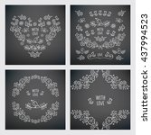 set of hand drawn vintage... | Shutterstock . vector #437994523
