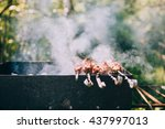 marinated beef bbq skewers ... | Shutterstock . vector #437997013