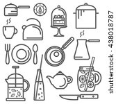kitchen line icons. food line... | Shutterstock .eps vector #438018787