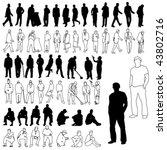 lots of men silhouettes   line... | Shutterstock .eps vector #43802716