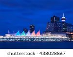 Stock photo canada place night sails downtown vancouver and the convention center at twilight vancouver 438028867