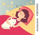 sleeping girl with cat. cartoon ... | Shutterstock .eps vector #438034003