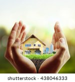 business man house in human... | Shutterstock . vector #438046333