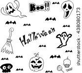 halloween characters doodle set ... | Shutterstock .eps vector #438080173