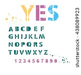 set of letters and numbers with ... | Shutterstock .eps vector #438089923