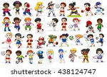 children doing many sports and... | Shutterstock .eps vector #438124747