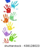 Small photo of Collection of colorful hand prints, isolated on white background