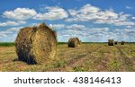 Farmers Field With Hay Bales...