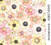 seamless pattern with flowers... | Shutterstock .eps vector #438174343