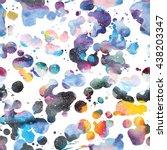 watercolor galaxy background.... | Shutterstock .eps vector #438203347