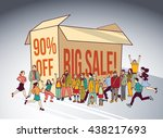 sale box group people shopping... | Shutterstock .eps vector #438217693