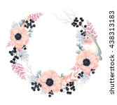 floral wreath with flowers... | Shutterstock .eps vector #438313183