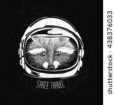 space helmet racoon | Shutterstock .eps vector #438376033