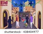 muslim families wishing eid... | Shutterstock .eps vector #438404977