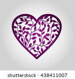 laser cut heart label. die cut... | Shutterstock .eps vector #438411007