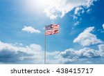 Flag Of America On Pole Agains...