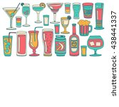 alcohol drinks and cocktails... | Shutterstock .eps vector #438441337