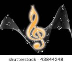 music notes with black... | Shutterstock .eps vector #43844248
