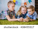 funny kids with fluffy little... | Shutterstock . vector #438455317
