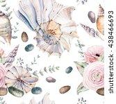 watercolor sea shells seamless... | Shutterstock . vector #438466693