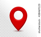 red realistic 3d map pin... | Shutterstock .eps vector #438469123