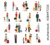 tourists with laggage... | Shutterstock .eps vector #438497233
