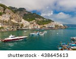 beautiful town of amalfi front...   Shutterstock . vector #438645613