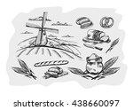 vector hand drawn bread on... | Shutterstock .eps vector #438660097