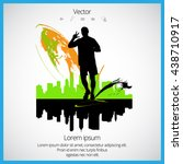 marathon  sport illustration ... | Shutterstock .eps vector #438710917