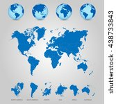world map with globes detailed... | Shutterstock .eps vector #438733843
