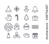 set of christmas line  icon  ... | Shutterstock .eps vector #438756487