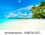 beautiful tropical beach and... | Shutterstock . vector #438761317
