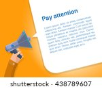 hand with megaphone. hand with... | Shutterstock .eps vector #438789607