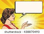girl preview comic book bubble... | Shutterstock .eps vector #438870493