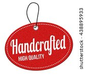 handcrafted red leather label... | Shutterstock .eps vector #438895933