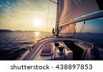 young man standing on the yacht ... | Shutterstock . vector #438897853