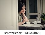 the young girl in cafe has... | Shutterstock . vector #438908893