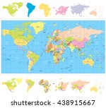 colored political world map... | Shutterstock .eps vector #438915667