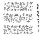 vector set of doodle flowers | Shutterstock .eps vector #438915763