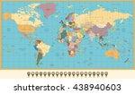 retro color political world map ... | Shutterstock .eps vector #438940603