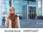 girl in hijab on the background ... | Shutterstock . vector #438951607