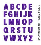 violet alphabets in 3d render... | Shutterstock . vector #438954373