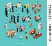 Set of ISOMETRIC BUSINESS PEOPLE TEAMWORK MEETING in office, share idea,  info graphic vector design | Shutterstock vector #438955813