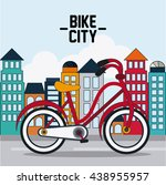 classic bicycle. bike and city... | Shutterstock .eps vector #438955957