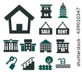 buying home icon set | Shutterstock .eps vector #439010347